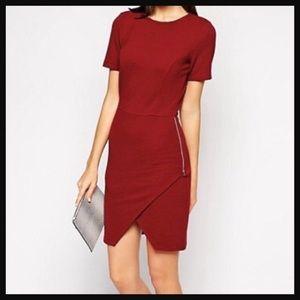 ASOS | bodycon red dress in rib asymmetrical hem